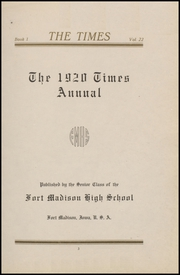 Page 7, 1920 Edition, Fort Madison High School - Madisonian Yearbook (Fort Madison, IA) online yearbook collection