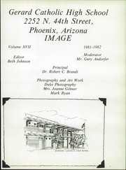 Gerard Catholic High School - Image Yearbook (Phoenix, AZ) online yearbook collection, 1982 Edition, Page 5 of 192
