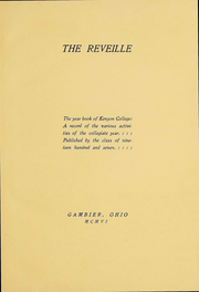Kenyon College - Reveille Yearbook (Gambier, OH) online yearbook collection, 1906 Edition, Page 3 of 216