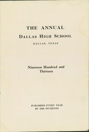 N R Crozier Technical High School - Wolf Pack Yearbook (Dallas, TX) online yearbook collection, 1913 Edition, Page 7