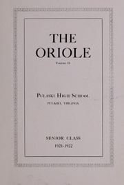 Pulaski High School - Oriole Yearbook (Pulaski, VA) online yearbook collection, 1922 Edition, Page 5