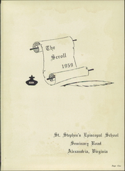 St Stephens Episcopal School - Scroll Yearbook (Alexandria, VA) online yearbook collection, 1959 Edition, Page 5