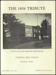 Page 7, 1958 Edition, Stephens High School - Tribute Yearbook (Rumford, ME) online yearbook collection