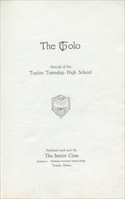Toulon Township High School - Tolo Yearbook (Toulon, IL) online yearbook collection, 1923 Edition, Page 7