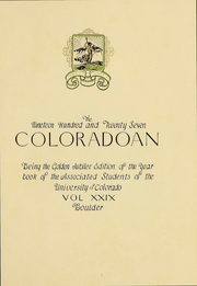 Page 6, 1927 Edition, University of Colorado - Coloradan Yearbook (Boulder, CO) online yearbook collection