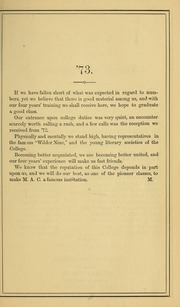 Page 13, 1869 Edition, University of Massachusetts Amherst - Index Yearbook (Amherst, MA) online yearbook collection