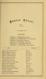 Page 17, 1869 Edition, University of Massachusetts Amherst - Index Yearbook (Amherst, MA) online yearbook collection