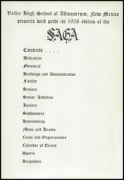 Page 9, 1958 Edition, Valley High School - Saga Yearbook (Albuquerque, NM) online yearbook collection