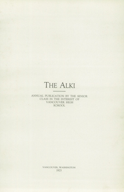 Vancouver High School - Alki Yearbook (Vancouver, WA) online yearbook collection, 1923 Edition, Page 5