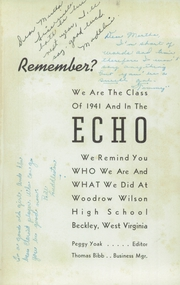Woodrow Wilson High School - Echo Yearbook (Beckley, WV) online yearbook collection, 1941 Edition, Page 5