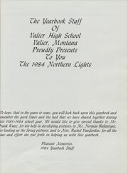 Page 5, 1984 Edition, Valier High School - Northern Lights Yearbook (Valier, MT) online yearbook collection