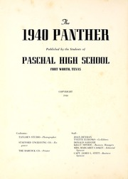 Page 6, 1940 Edition, R L Paschal High School - Panther Yearbook (Fort Worth, TX) online yearbook collection