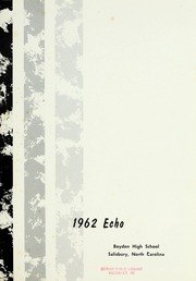 Page 5, 1962 Edition, Boyden High School - Echo Yearbook (Salisbury, NC) online yearbook collection
